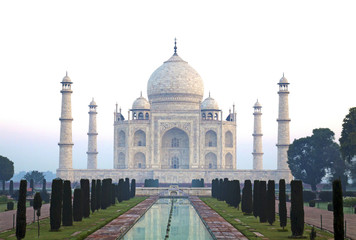 Frontal view Taj Mahal winter morning without people