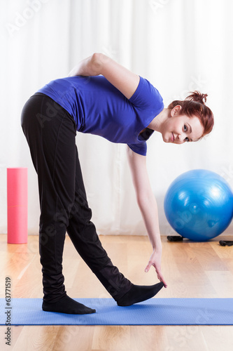 Woman during stretching