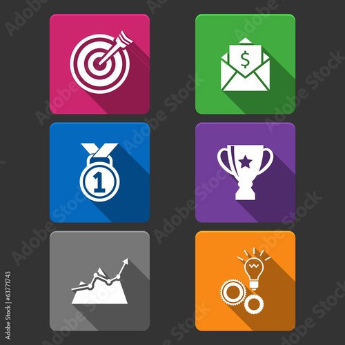Business winner icons set