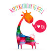 Greeting card with cute colorful giraffe. Happy birthday card. v