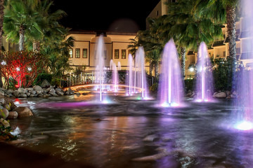 night fountains in luxury resort