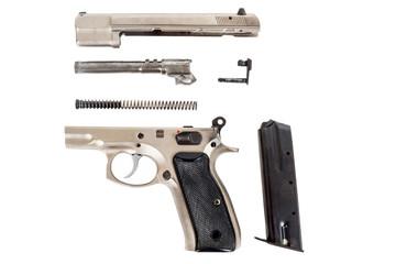 disassembled Semi-automatic gun