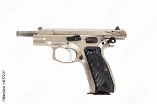 Semi-automatic gun isolated on white background