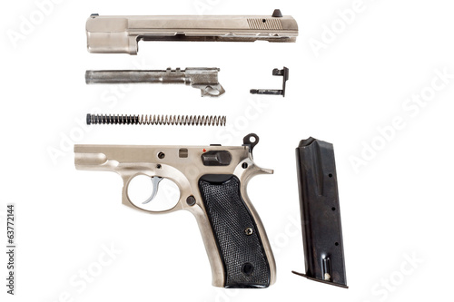 disassembled Semi-automatic gun