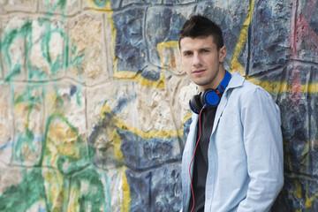 Fashion teenage boy with headphones
