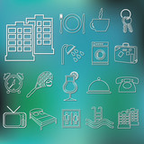 outline hotel and accommodation icons poster