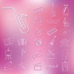 art and culture outline icons