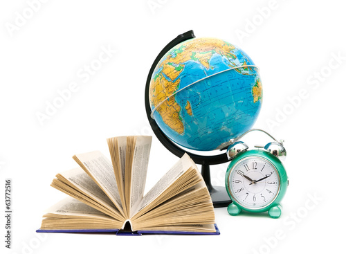 book, globe and alarm clock isolated on white background