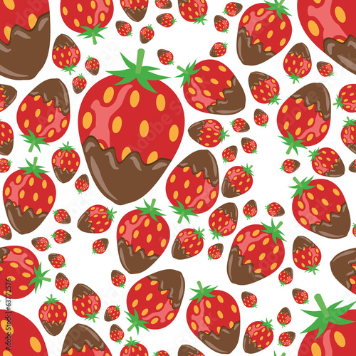strawberry in chocolate seamless pattern