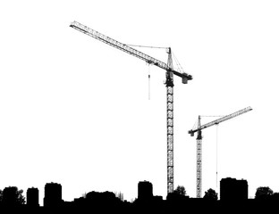 Construction cranes and silhouettes buildings on a white backgro
