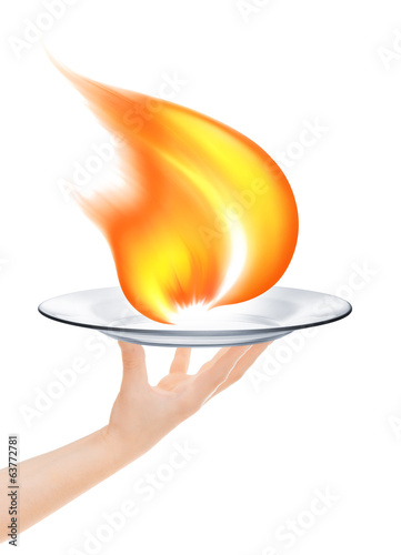 Waiter holding a plate with a fire on a white background