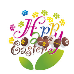 Easter color flower chocolate eggs background