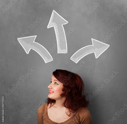 Young woman thinking with arrows above her head