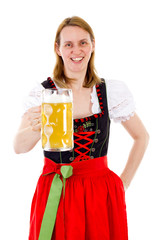 Happy woman drinking her delicious beer