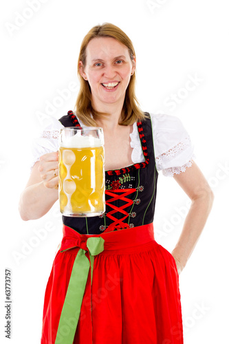 canvas print picture Happy woman drinking her delicious beer