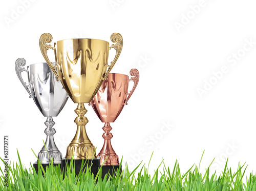 Champion trophies on green grass. Isolated on white