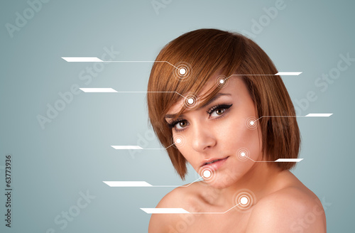 Young sexy girl with facial treatment modern arrows
