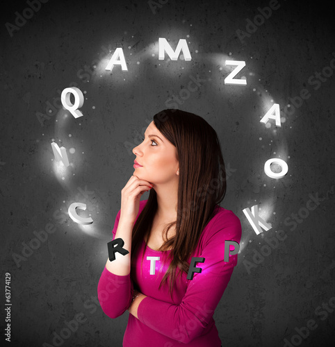 Young woman thinking with letter circulation around her head