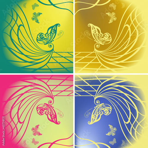 Set of butterflies on color background