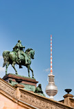 Frederick William IV Statue and Berlin TV Tower Dome poster