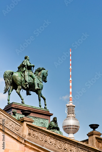 Frederick William IV Statue and Berlin TV Tower Dome