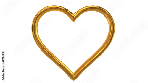 Animation of heart shape wedding ring. Includes alpha matte.