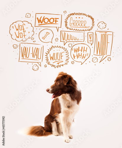 canvas print picture Cute dog with barking bubbles