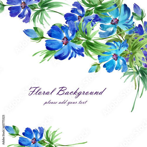 Watercolor floral background blue flowers