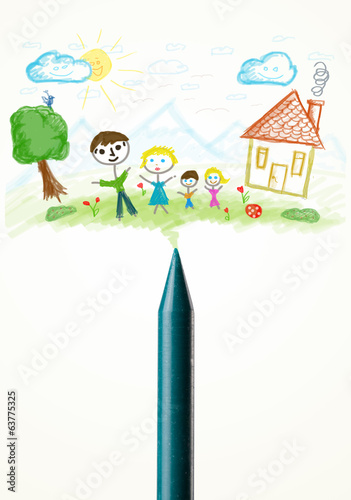 Crayon close-up with a drawing of a family