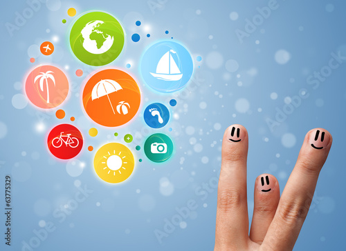Cheerful finger smileys with colorful holiday travel bubble icon