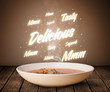 Soup with delicious and tasty glowing writings