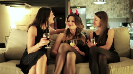 three young women having fun at the hen party