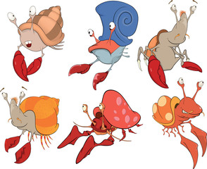 Set of crabs cartoon
