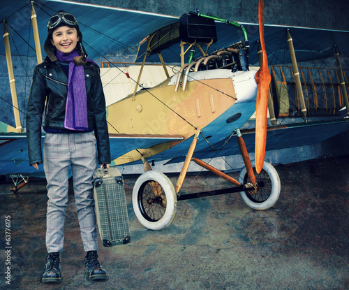 Flying, aviator, plane, travel - girl ready for travel