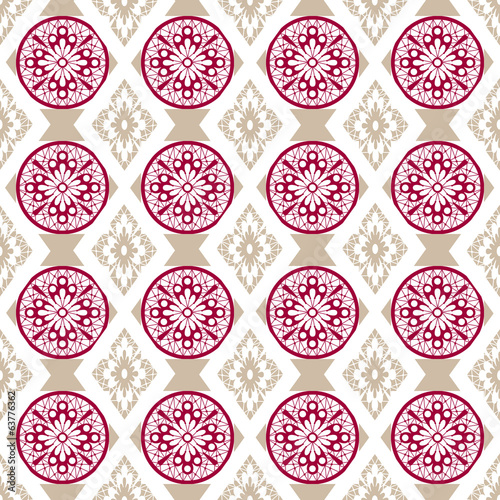 Seamless openwork pink beige lace floral pattern on white