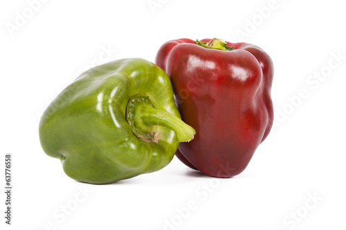 Natural red and green peppers isolated on white background
