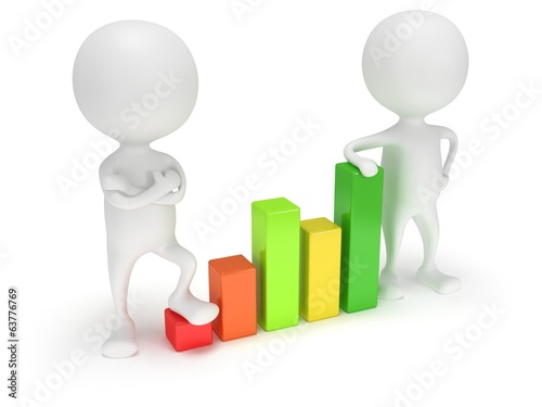 3d people stand near colored bar graph