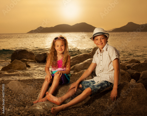 Children at sunset