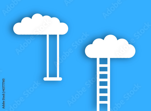 White clouds with stairs and swing over blue sky