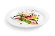 salad with salmon and sprat on a white background