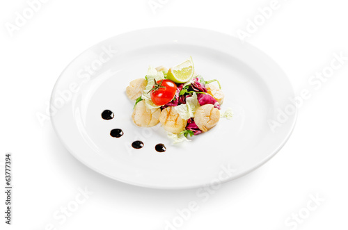 scallop with lettuce on white background