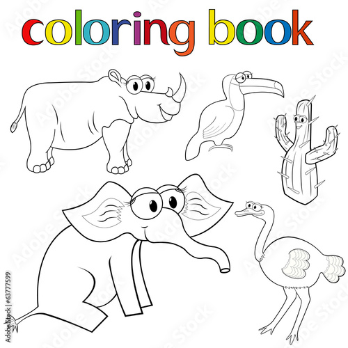 Set of animals and cactus for coloring book