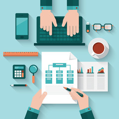 Flat modern design vector concept for business meeting