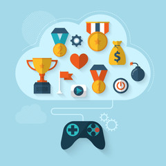 Flat modern design vector concept for gamification