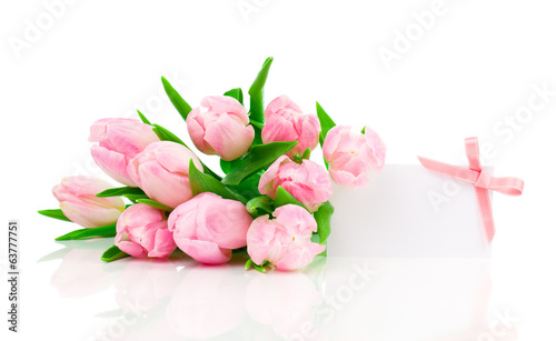 beautiful tulips with with blank for text on a white background.