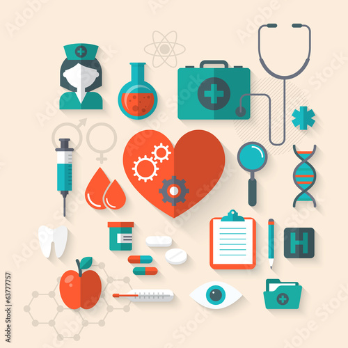 Flat modern design vector medical icons