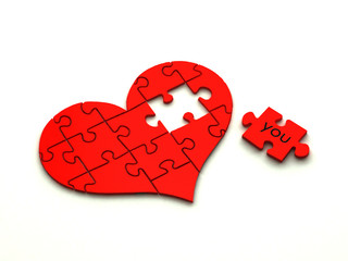 3d heart puzzle on white
