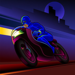 Super hero motorbike rider. Vector illustration on a background
