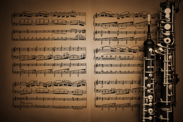Musical instruments music sheet notes oboe