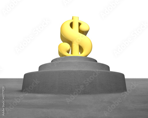 Large golden money symbol on concrete podium
